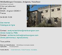 Fiche de la médiathèque Ceccano d'Avignon