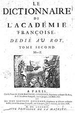 Couverture du Dictionnaire de l'Académie française   Gallica / BnF