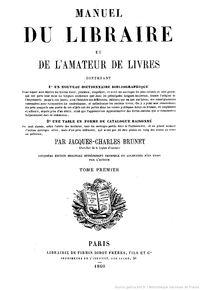 Couverture du Manuel du libraire   Gallica / BnF
