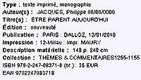 Exemple d'une notice saisie dans l'extranet par un éditeur