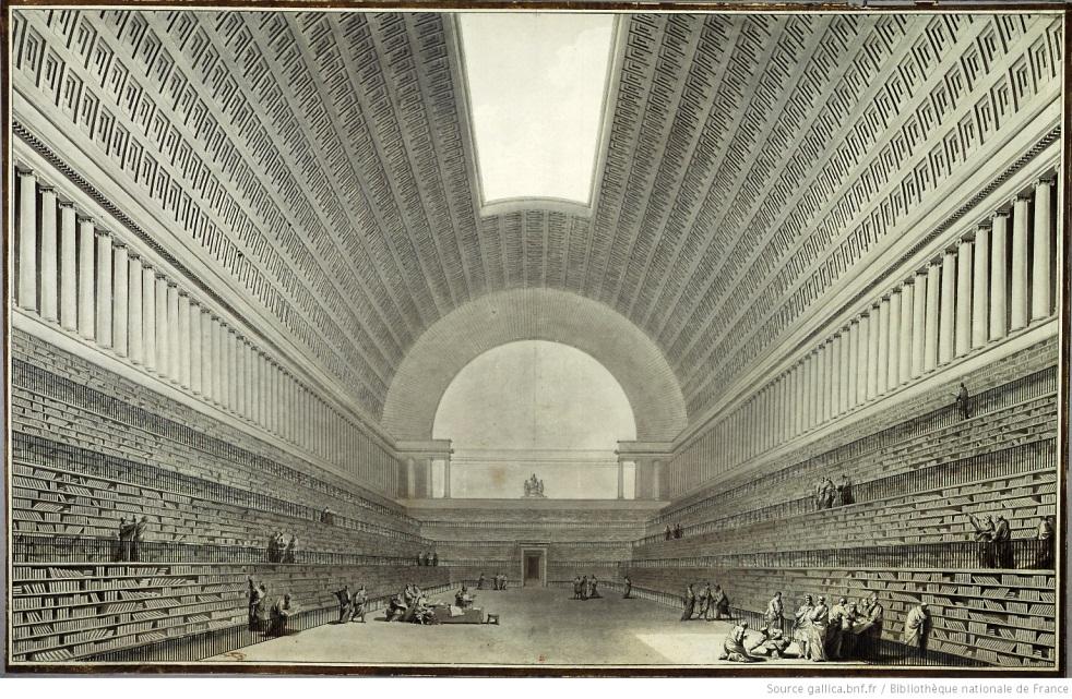 Vue de la nouvelle salle projetée pour l'agrandissement de la bibliothèque du roi, Étienne-Louis Boullée, Paris, Département des Estampes et de la photographie, Réserve HA-57 (15)-FT 4