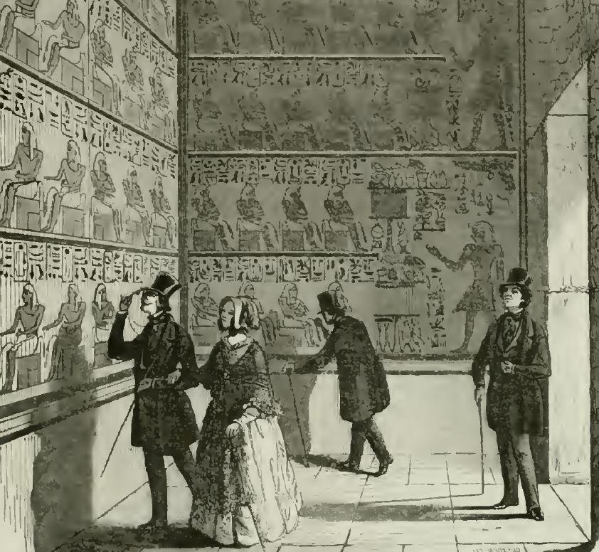 Les visiteurs de la chambre des ancêtres de Thoûtmosis III installée dans la Bibliothèque royale, L'Illustration: journal universel, 20 juin 1846, disponible sur archives.org