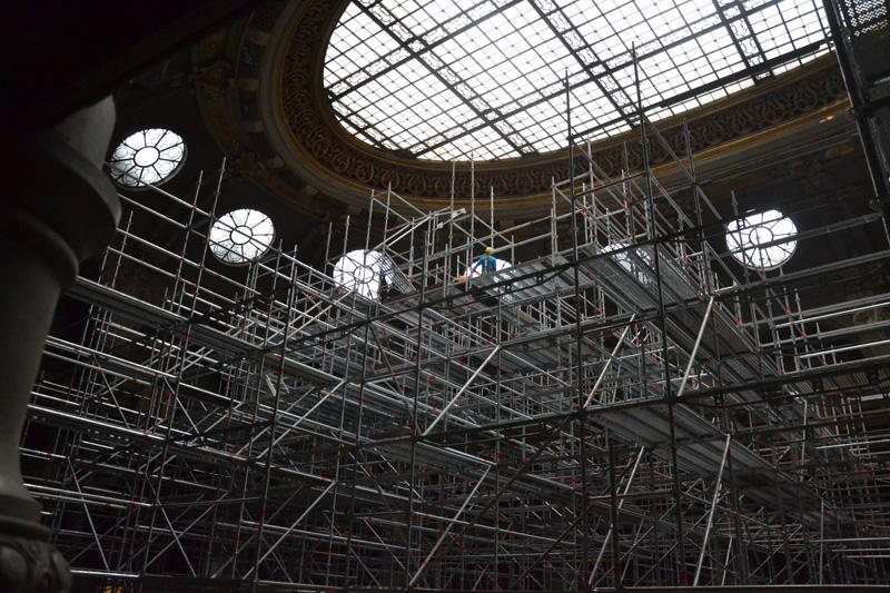 Échafaudages dans la salle Ovale © Agathe Billois / BnF